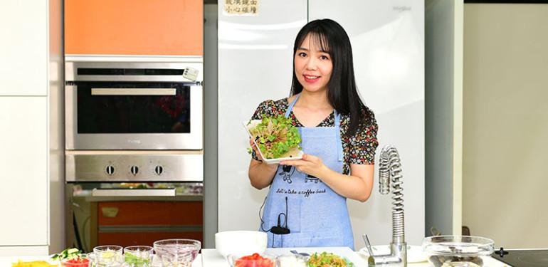 黃書宜 營養師推出專為夏日癌友設計的營養料理,三道富含蛋白質、抗癌、增加胃口的涼拌料理。