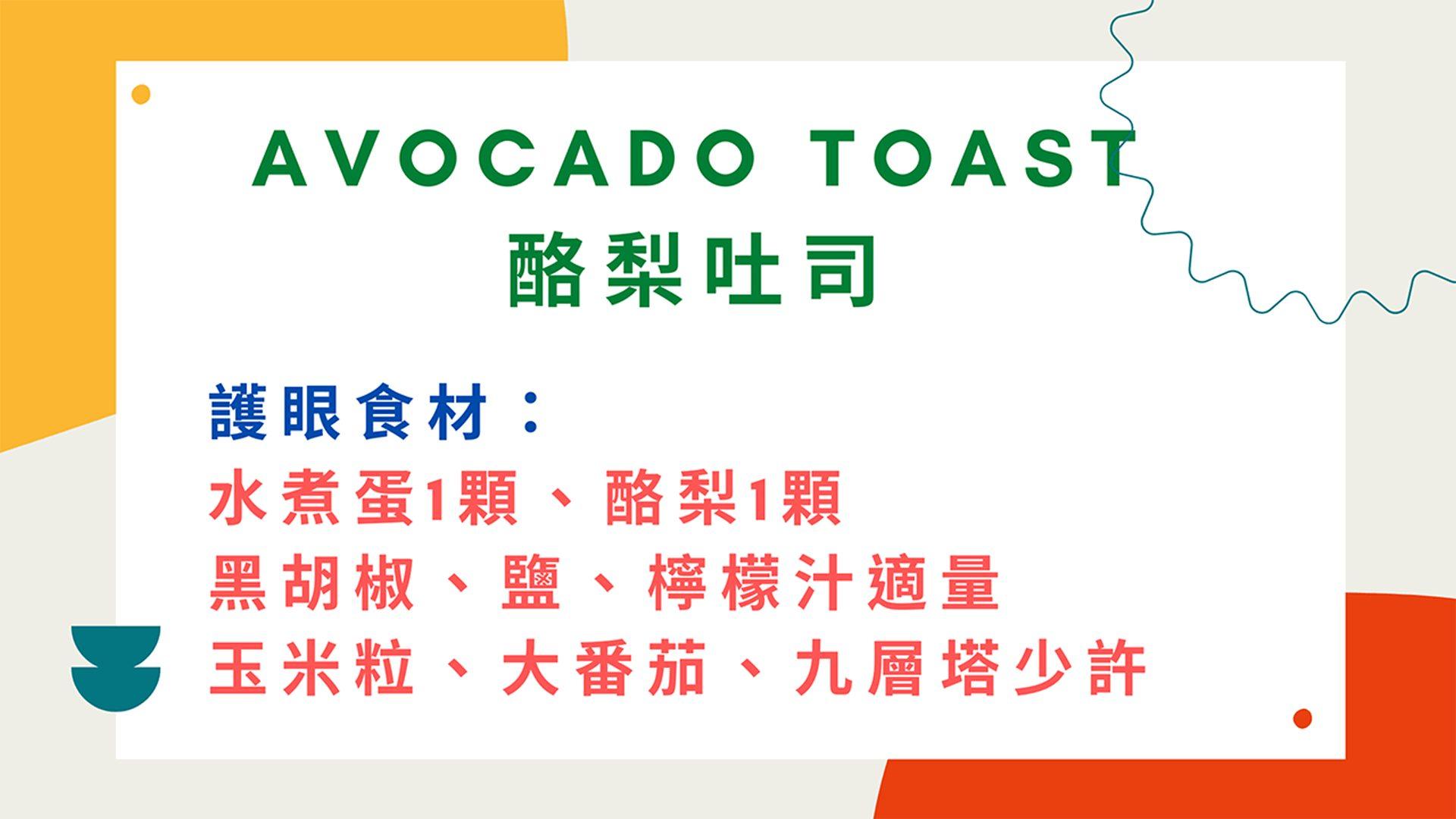 陳冠蓉營養師提供「酪梨吐司食譜」